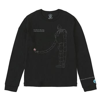 ジブリ美術館オリジナル Tシャツ 長袖 「ロボット兵と花」 ブラック