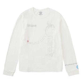ジブリ美術館オリジナル Tシャツ 長袖 「ロボット兵と花」 ホワイト